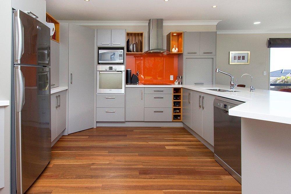 View of custom built cabinets for kitchen