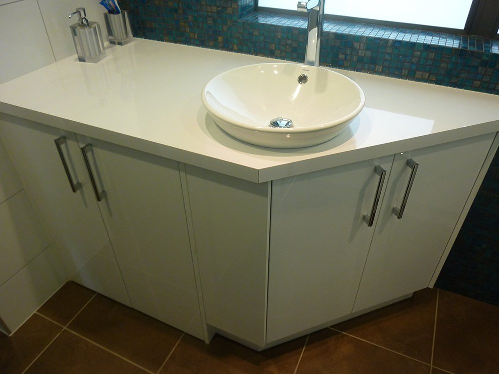 View of cabinets built for bathroom