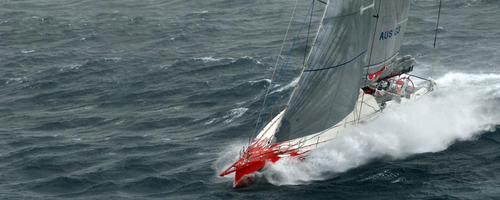 View of a sailing boat in deep waters