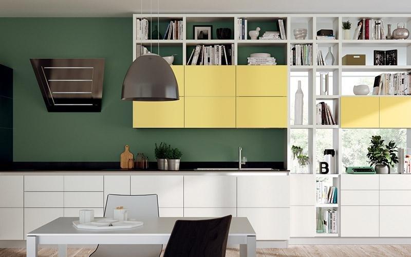 Arredamento per soggiorno integrato Scenery bianco e giallo