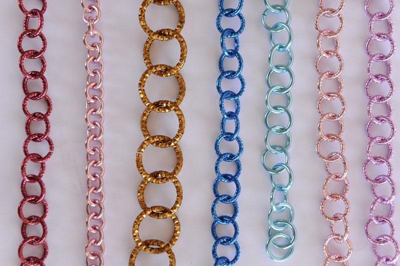 catene metalliche per bigiotteria colorate