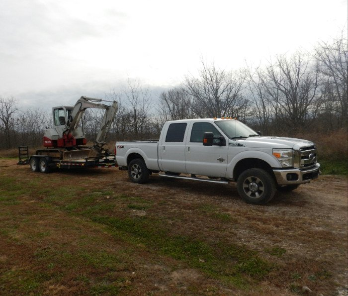 Truck and equipment for excavating in Stockton
