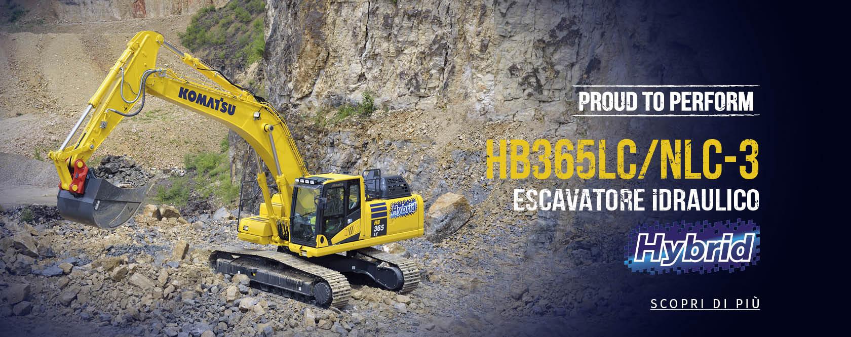 un escavatore idraulico  giallo HB365LC/NLC-3