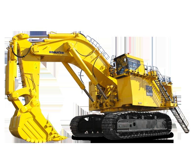 un grande escavatore giallo con postazione Komatsu