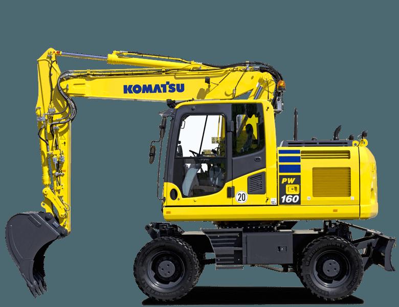 un escavatore giallo con le ruote Komatsu