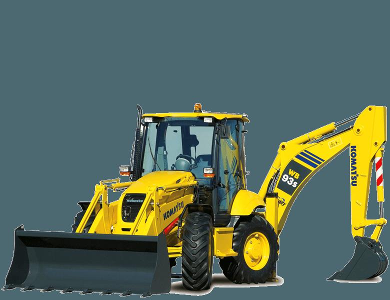 un escavatore giallo con due pale  Komatsu