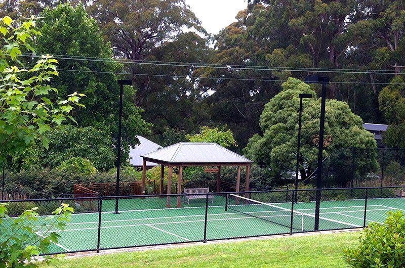 Distance view of the tennis court