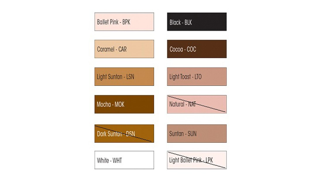 Sizing Color Charts Ms Dancewear Footwear Boutique Advanced