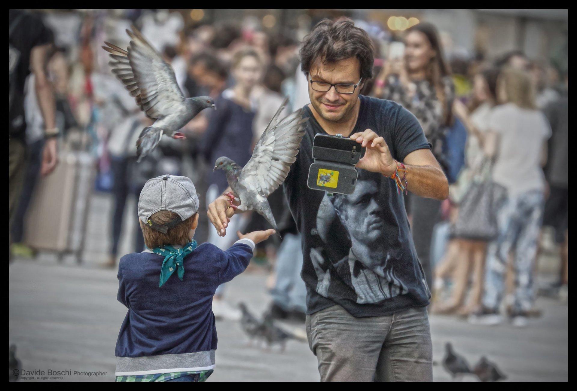 Foto del fotografo che fotografia a la colomba