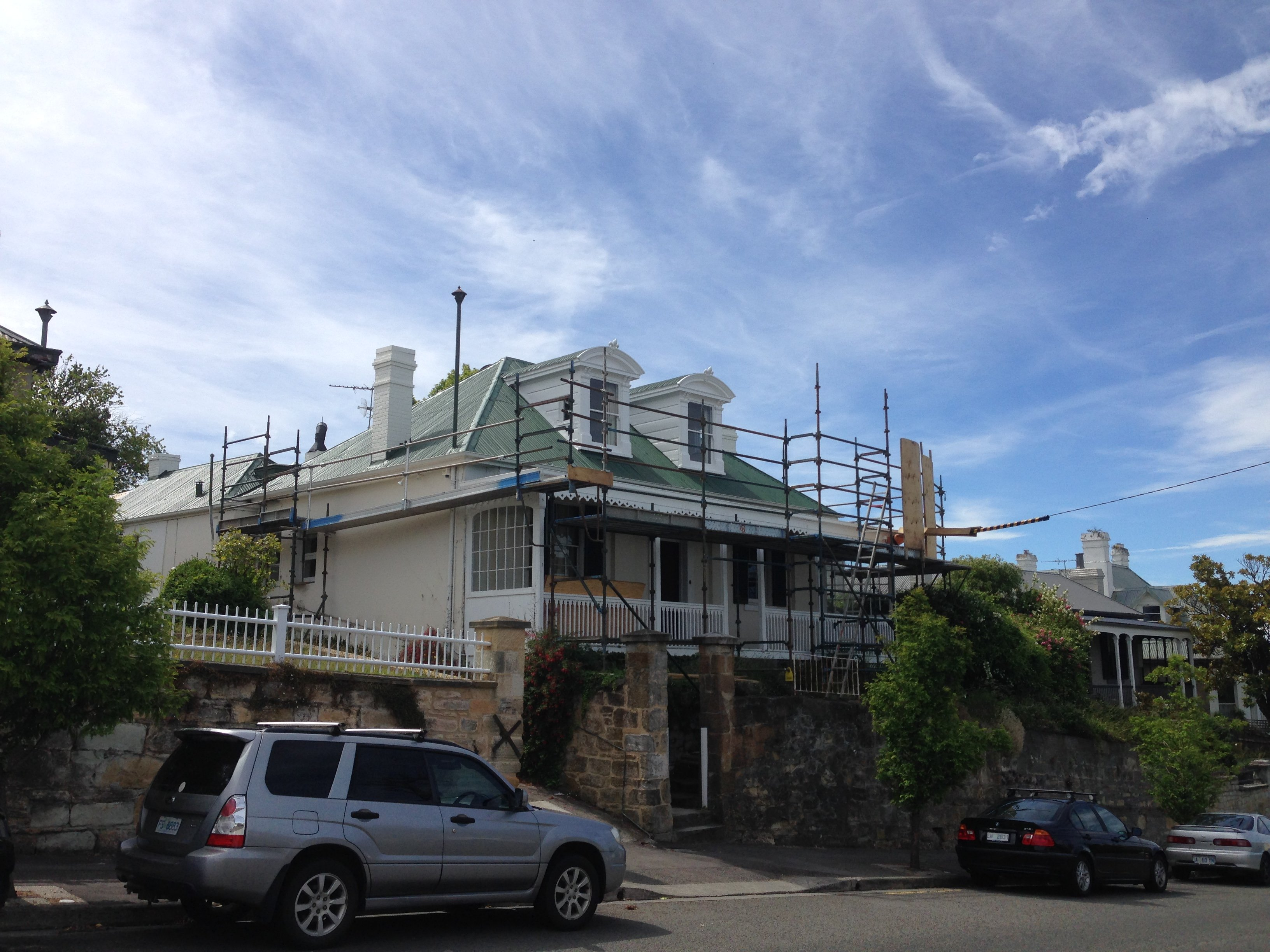 Roof restoration repairs painting dormer  widows chimney removal and chimney restoration heritage slate roofing hobart australia