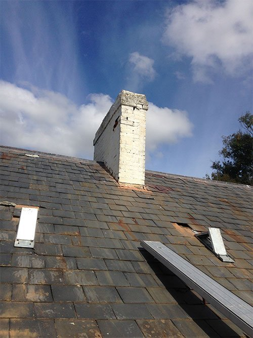 chimney removal and chimney restoration heritage slate roofing hobart australia