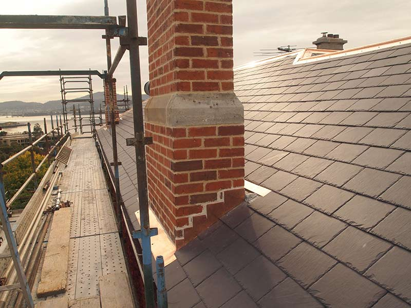 copper chase flashing chimney removal and chimney restoration heritage slate roofing hobart australia