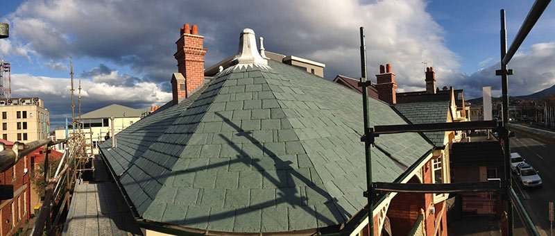 Old lead finial and green slate roof Heritage Slate Roofing Hobart Australia