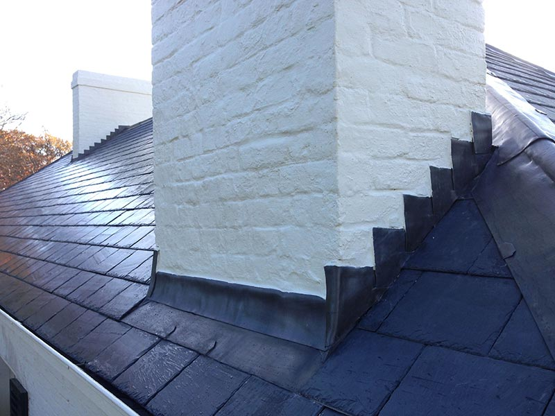 chimney chase flashing chimney removal and chimney restoration heritage slate roofing hobart australia