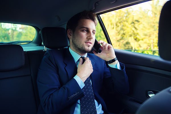 Handsome businessman in the car