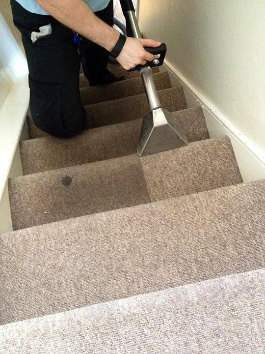 carpet cleaning on the staircase