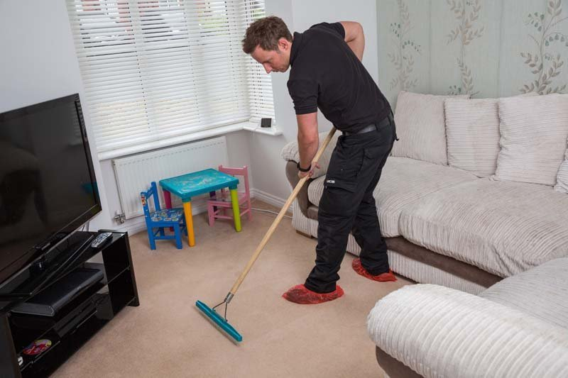 vacuum cleaning in the children's room
