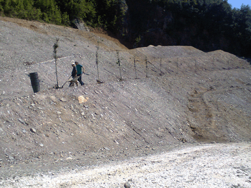 La ditta esegue la semina in quota con la tecnica di idrosemina.