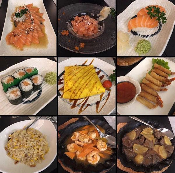 Collage di immaggini delle specialità di sushi