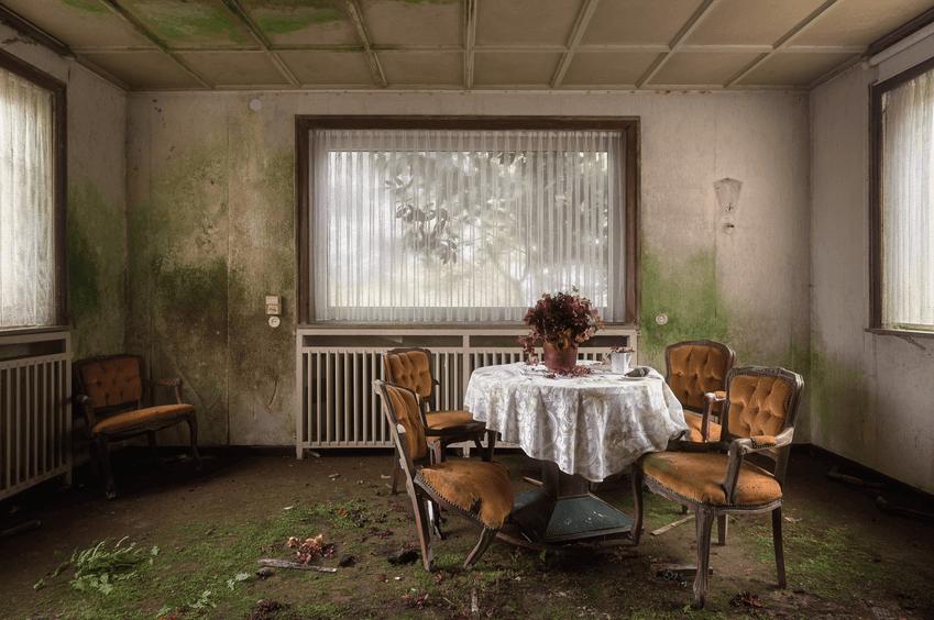 groen uitgeslagen, vervallen, kamer met een zitje waarvan over de tafel een wit kleedje ligt waarop een bloempot met bloemen staat, een kop en andere dingen