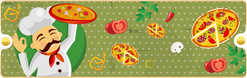 pizzaiolo sorridente alza una pizza  e vari disegni di pizze e ingredienti per prepararla