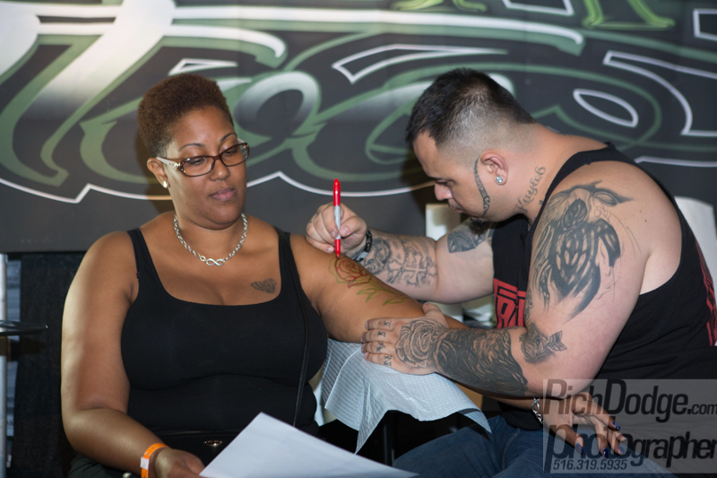 Tattoo work in progress at the United Ink Flight 915 event