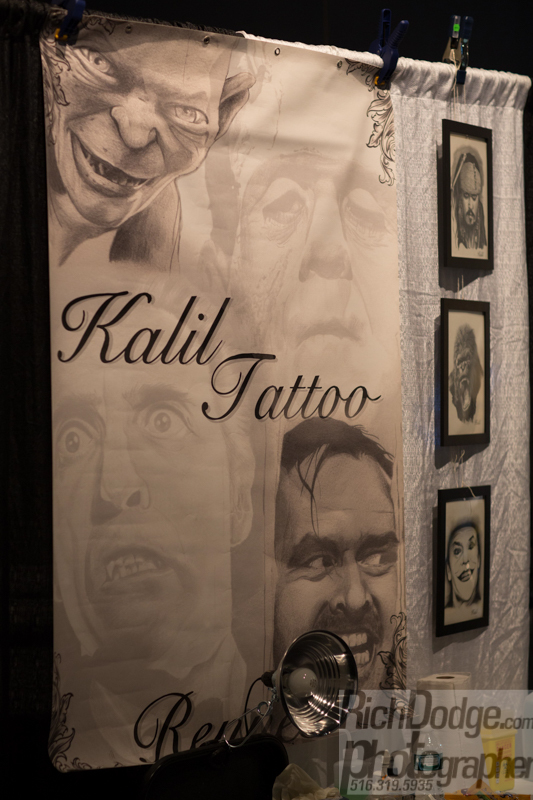 Kalil tattoo works at the  United Ink Flight 915 event