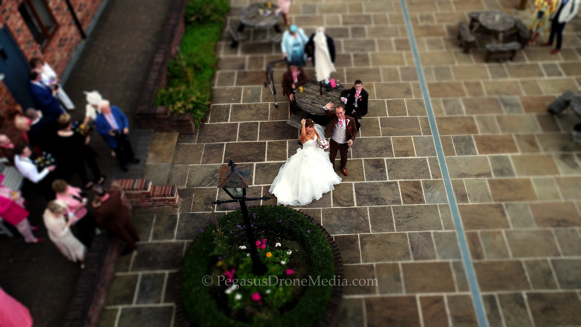 Drone weddings captured from the air.