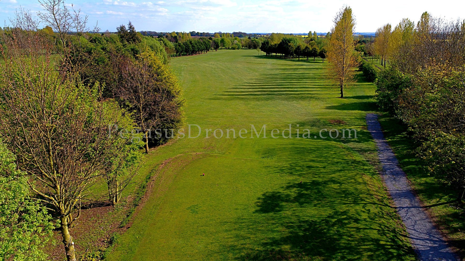 Golf fairway photographed from the air by drone SUA