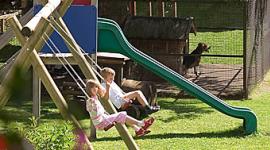 Grünfläche, Spielplatz, Schaukeln für Kinder