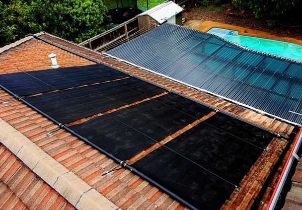 four solar thermal heating panels