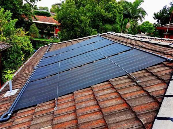 red brown roof with solar panels