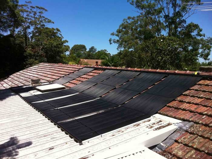 solar panels overlapping two roofs