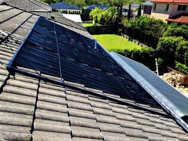 solar panels on light brown roof