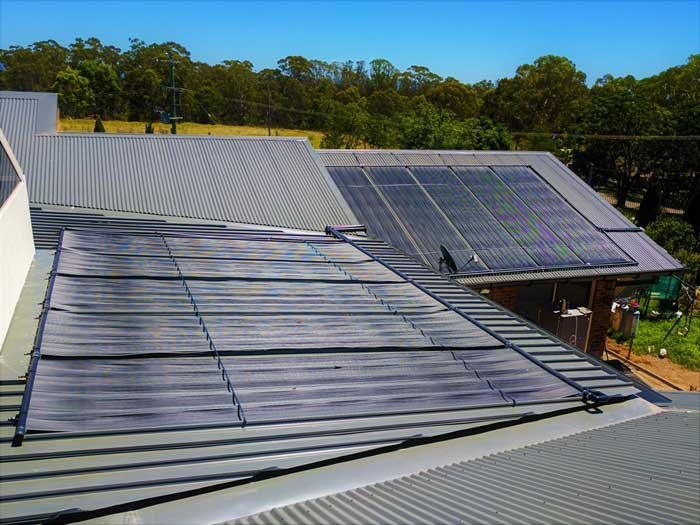 two sets of solar panels