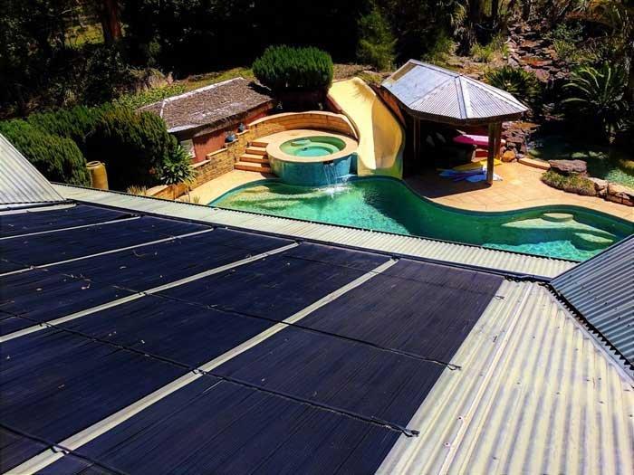 solar panels with fun pool