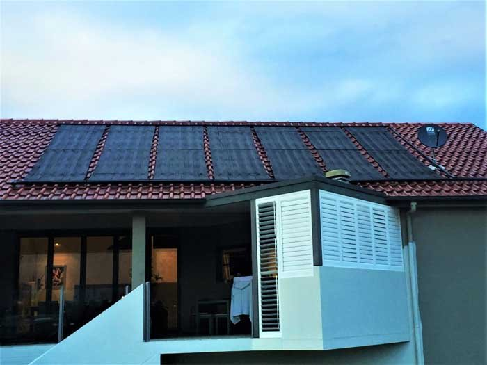 several roof solar panels for pool