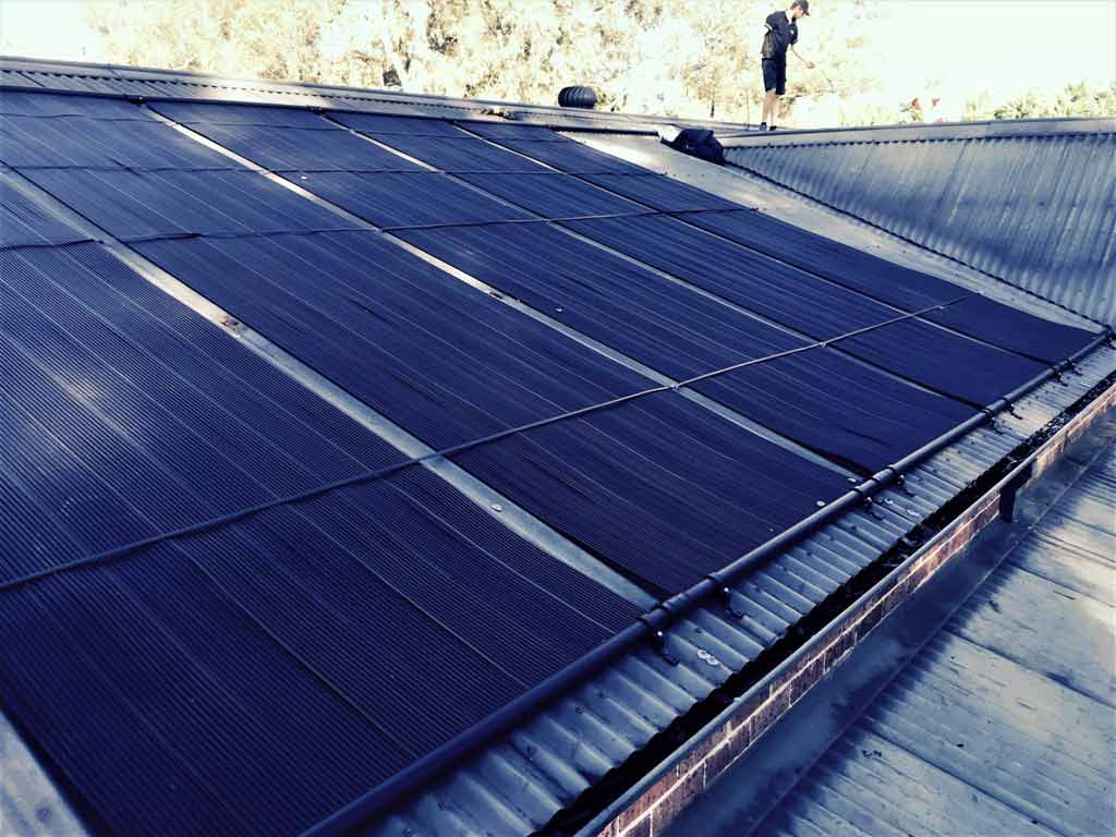 several solar panel to heat pool