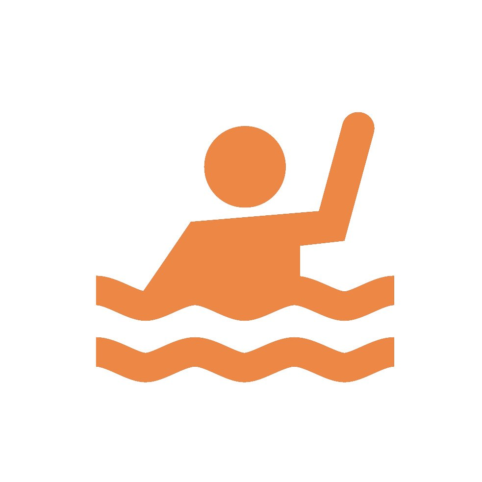 person waving from pool icon