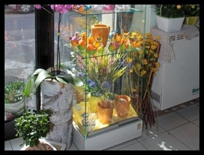 una vetrina con dei vasi di fiori arancioni