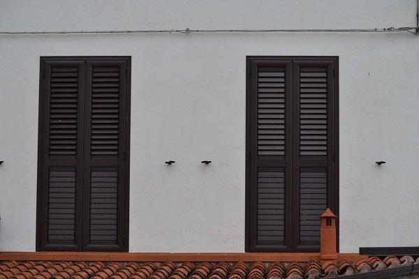 due finestre con delle persiane in legno