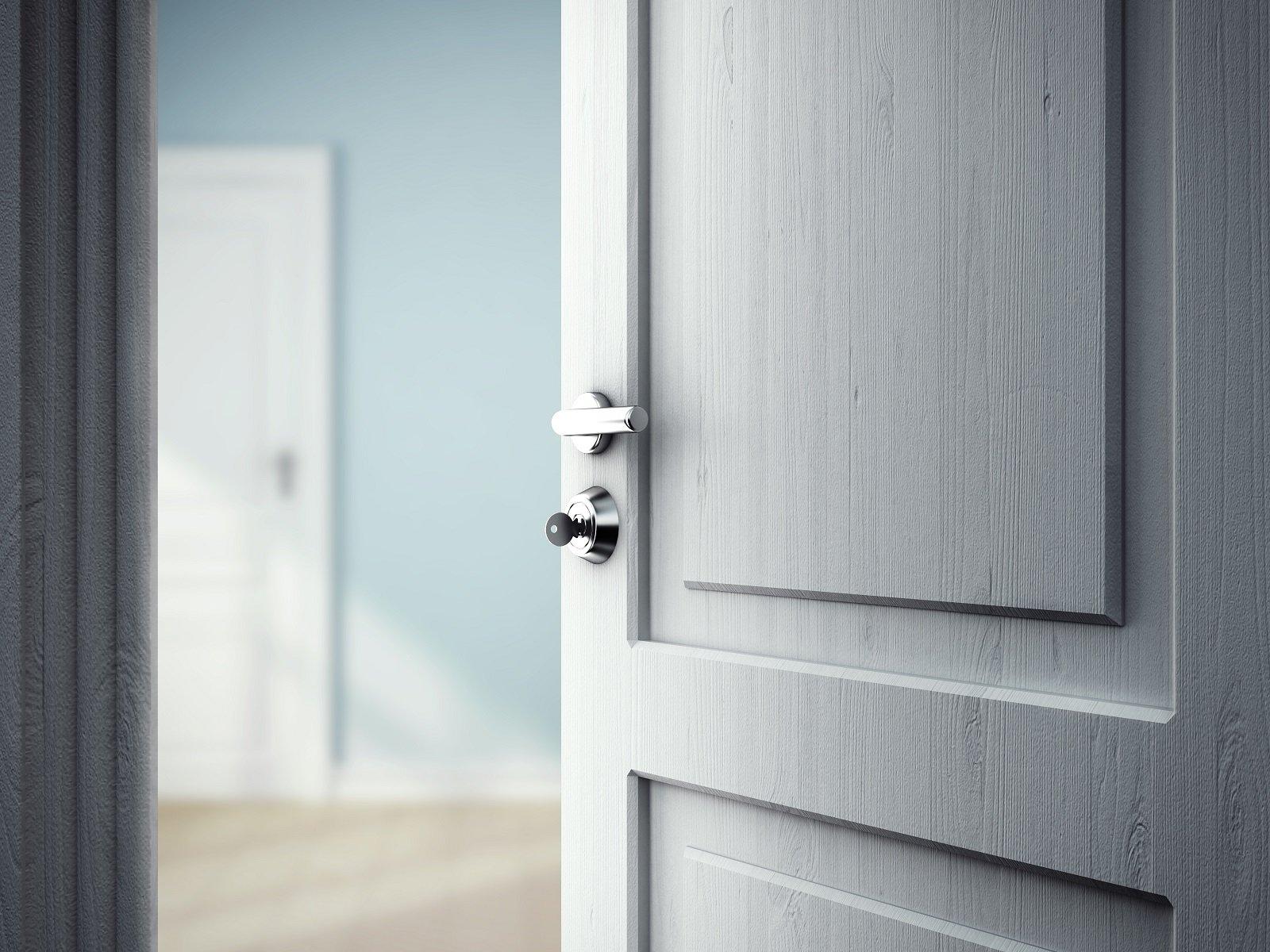una porta di color grigio con una maniglia e un pomello in acciaio