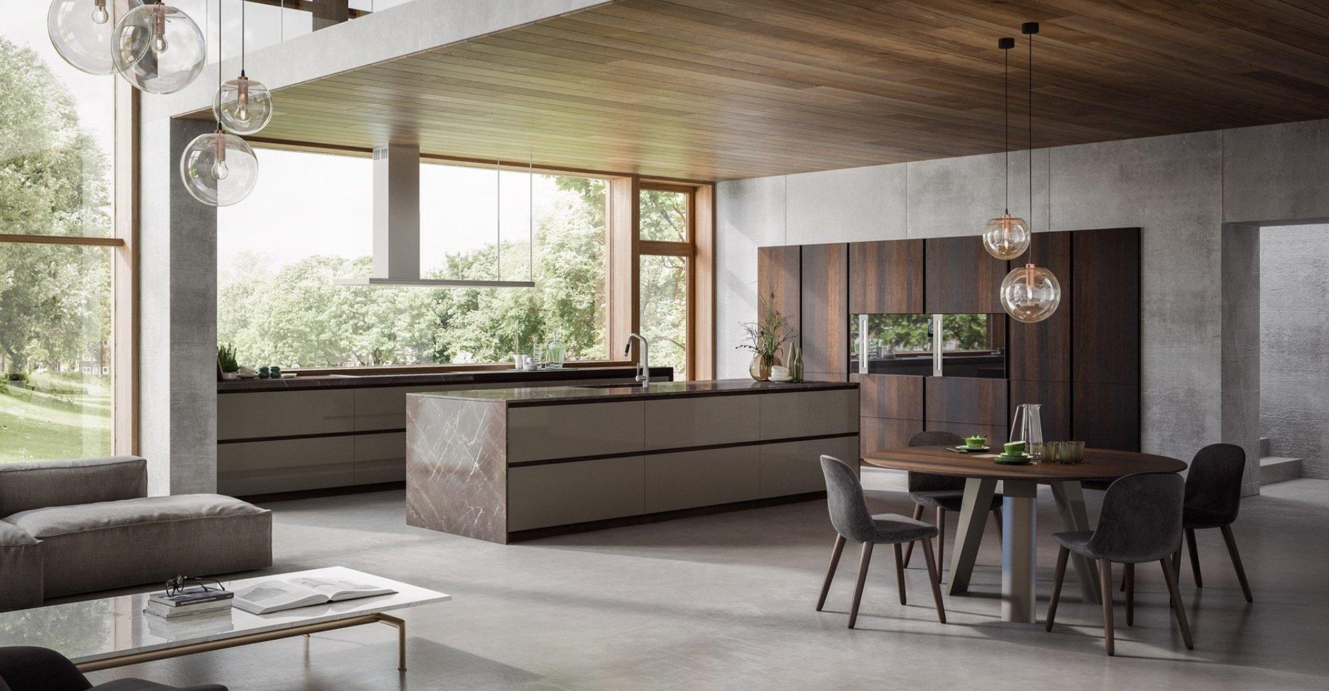 un tavolo in legno con delle sedie moderne