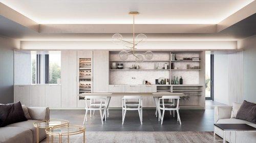 una cucina moderna di color pino chiaro