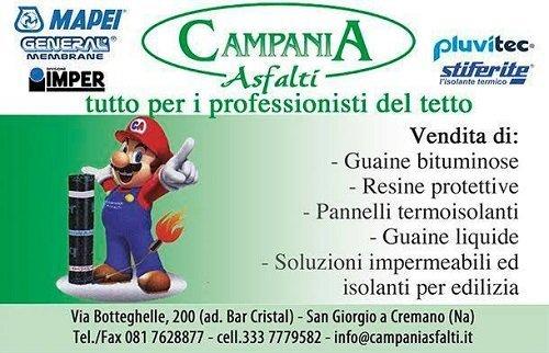 Il biglietto da visita di Campania asfalti e il disegno di Super Mario