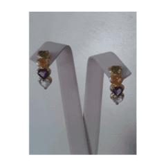 orecchini oro giallo 14Kt - zirconi colorati taglio a cuore