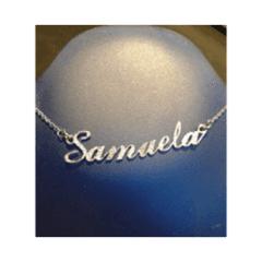 Girocollo con nome in argento o acciaio, disponobile lucido, sabbiato o diamantato