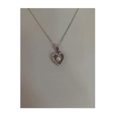 pendente cuore oro bianco perla e zirconi