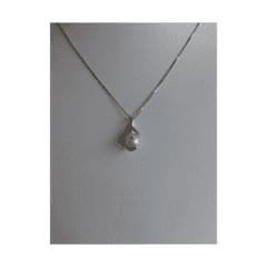 pendente oro bianco perla e zirconi