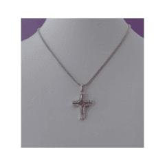 Croce oro bianco e zirconi